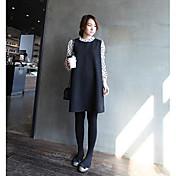 Mujer Vaina Vestido Casual/Diario Trabajo Sofisticado,Un Color Escote Redondo Sobre la rodilla Manga Larga Algodón Primavera Tiro Medio