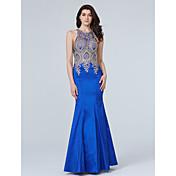 Trompeta / Sirena Joya Hasta el Suelo Tafetán Evento Formal Vestido con Apliques Detalles de Cristal por TS Couture®
