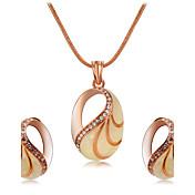 Colgantes Collar Pendientes Set Cristal Moda Euramerican Zirconia Cúbica Gema Legierung Forma Oval 1 Collar 1 Par de Pendientes ParaBoda