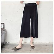 Mujer Chic de Calle Tiro Alto Inelástica Chinos Pantalones,Perneras anchas Un Color