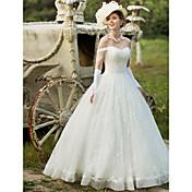 Salón Hasta el Suelo Encaje Vestido de novia con Cuentas Apliques por HUA XI REN JIAO