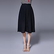 Mujer Sencillo Midi Faldas,Línea A Un Color