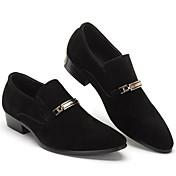 Muške Natikače i mokasinke Ljeto Udobne cipele Brušena koža Ležeran Kockasta potpetica Crn Sive boje