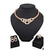 Juego de Joyas Los sistemas nupciales de la joyería Cristal Moda Euramerican Clásico Brillante Forma de Círculo Dorado1 Collar 1 Par de