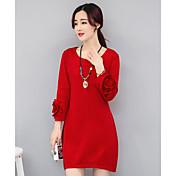 Mujer Línea A Vestido Casual/DiarioUn Color Escote Redondo Sobre la rodilla 3/4 Manga Algodón Primavera Verano Tiro Alto Microelástico