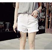 Mujer Chic de Calle Tiro Alto strenchy Vaqueros Shorts Pantalones,Corte Ancho Un Color