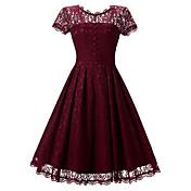 Mujer Vaina Corte Swing Vestido Noche Fiesta/Cóctel Vacaciones Vintage Chic de Calle Sofisticado,Un Color Escote Redondo Hasta la Rodilla