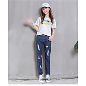Mujer Chic de Calle Tiro Medio Microelástico Vaqueros Pantalones,Pantalones Harén Estampado