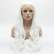 Mujer Pelucas sintéticas Encaje Frontal Largo Ondulado Grande Blanco Entradas Naturales Peluca natural Peluca de Halloween Peluca de