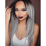 Mujer Pelucas sintéticas Encaje Frontal Largo Liso Gris oscuro Pelo Ombre Raíces oscuras Entradas Naturales Peluca natural Peluca de