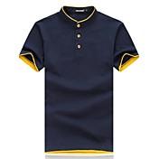 Hombre Simple Tejido Oriental Casual/Diario Tallas Grandes Verano Camiseta,Escote Redondo Un Color Manga Corta Algodón Opaco