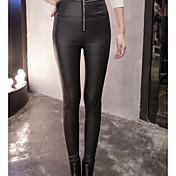 Mujer Sencillo Tiro Medio Microelástico Ajustado Pantalones,Pitillo Un Color
