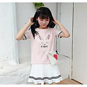 レディース カジュアル/普段着 夏 Tシャツ,シンプル ラウンドネック ストライプ コットン 半袖