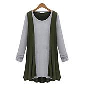 レディース カジュアル/普段着 シャツ,シンプル ラウンドネック ソリッド コットン 長袖