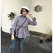Mujer Simple Casual/Diario Primavera Camisa,Asimétrico A Cuadros Manga Larga Algodón