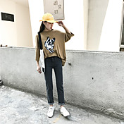 Mujer Boho Tiro Alto Microelástico Vaqueros Pantalones,Corte Recto Un Color