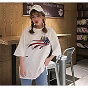 Mujer Vintage Chic de Calle Noche Casual/Diario Camiseta,Escote Redondo Un Color Estampado 3/4 Manga Algodón