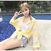 Mujer Simple Playa Verano Camisa,Cuello Camisero A Cuadros Manga Larga Algodón