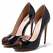 Mujer Zapatos Cuero Patentado Primavera Verano Otoño Tacón Stiletto Para Boda Fiesta y Noche Negro Almendra