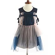 女の子の ストラップ柄 カラーブロック コットン ドレス ノースリーブ
