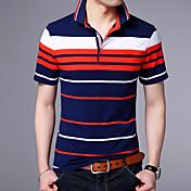 メンズ 日常 Polo,シンプル シャツカラー ストライプ コットン 半袖