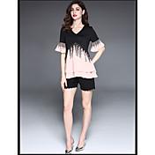 Mujer Simple Playa Camiseta,Escote en Pico Un Color Bloques Manga Corta Algodón