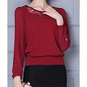 Majica s rukavima Ženske,Jednostavno Ležerno/za svaki dan Jednobojni-Dugih rukava Okrugli izrez Neprozirno Pamuk