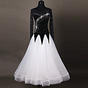 Baile de Salón Vestidos Mujer Actuación Chinlon Aplique Corte 1 Pieza Mangas largas Cintura Alta Vestidos