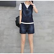レディース 夏 ニット パンツ スーツ,シンプル ラウンドネック 半袖