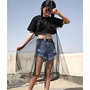 Mujer Simple Casual/Diario Primavera Verano Camiseta,Escote Redondo Retazos Manga Corta Algodón Fino