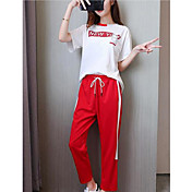 Mujer Sencillo Activo Casual/Diario Deportes Verano T-Shirt Pantalón Trajes,Escote Redondo Un Color Manga Corta