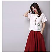レディース カジュアル/普段着 Tシャツ,シンプル ラウンドネック プリント コットン 半袖