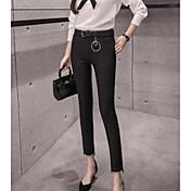 Mujer Chic de Calle Tiro Alto Microelástico Chinos Pantalones,Corte Recto Un Color