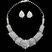 Juego de Joyas Cristal Cuadrado Joyería de Lujo Brillante Legierung Forma Cuadrada 1 Collar 1 Par de Pendientes ParaBoda Fiesta
