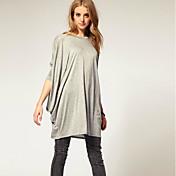Dámské Jednobarevné Běžné/Denní Jednoduché Tričko Bavlna Bambusové vlákno Kulatý Dlouhý rukáv