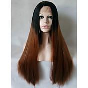 Mujer Pelucas sintéticas Encaje Frontal Medio Largo Liso Negro / castaño medio Pelo Ombre Peluca natural Las pelucas del traje