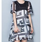 レディース カジュアル/普段着 夏 Tシャツ,シンプル ラウンドネック 幾何学模様 ポリエステル 半袖