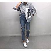 レディース カジュアル/普段着 夏 Tシャツ,シンプル シャツカラー ストライプ コットン 長袖