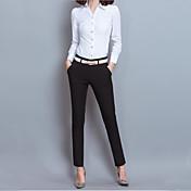 レディース シンプル ミッドライズ スリム 非弾性 ビジネス パンツ 純色 ゼブラプリント