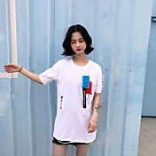Mujer Simple Casual/Diario Camiseta,Escote en Pico Estampado Manga Corta Algodón