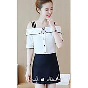 Mujer Sencillo Casual/Diario Verano T-Shirt Falda Trajes,Escote Barco Estampado Manga 1/2 Microelástico