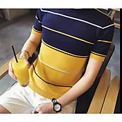 メンズ カジュアル/普段着 夏 Tシャツ,シンプル ラウンドネック ストライプ コットン 半袖 ミディアム