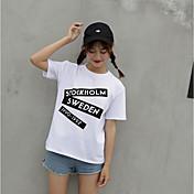 レディース カジュアル/普段着 夏 Tシャツ,シンプル ラウンドネック レタード コットン 半袖