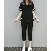 Mujer Simple Casual/Diario Verano Camiseta,Escote en Pico A Rayas Manga Corta Poliéster