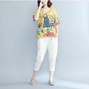 レディース カジュアル/普段着 Tシャツ,シンプル ラウンドネック アニマルプリント コットン 半袖