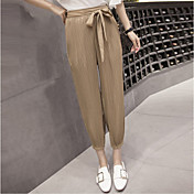 Mujer Sencillo Tiro Alto Microelástico Chinos Pantalones,Holgado Un Color