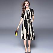 Feminino Bainha Chifon balanço Vestido,Para Noite Casual Simples Moda de Rua Sofisticado Listrado Estampado Colarinho Chinês MédioManga