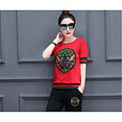 レディース スポーツ 学校 夏 Tシャツ(21) パンツ スーツ,クラシック 近代の ラウンドネック その他 半袖 マイクロエラスティック