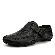 Hombre Zapatos de taco bajo y Slip-Ons Confort Cuero Primavera Verano Exterior Oficina y Trabajo Informal Paseo Cinta AdhesivaNegro