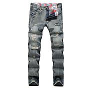 メンズ シンプル ストリートファッション 活発的 ミッドライズ ルーズ スリム 高弾性 ストレート ジーンズ パンツ 引き裂かれました ソリッド